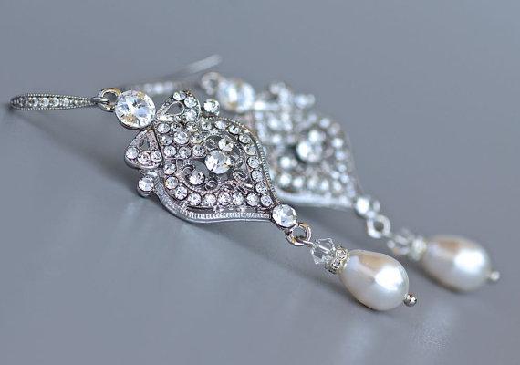 Wedding - Crystal Bridal Earrings, Rhinestone & Pearl Wedding Earrings, Crystal Chandelier, Wedding Jewelry, Bridal Jewelry, Bridesmaid Earrings LUCY2