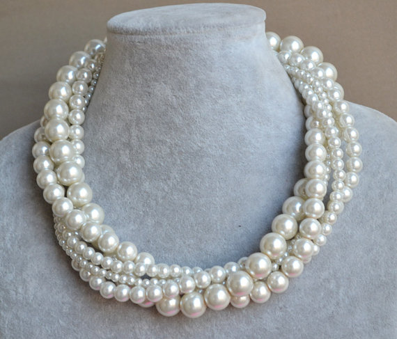 Mariage - pearl Necklace,ivory Glass Pearl Necklace,Wedding Necklace,bridesmaid necklace,wedding pearl ,5 rows necklace,Jewelry