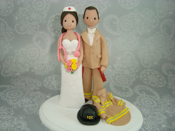 Firefighter Nurse Personalized Wedding Cake Topper