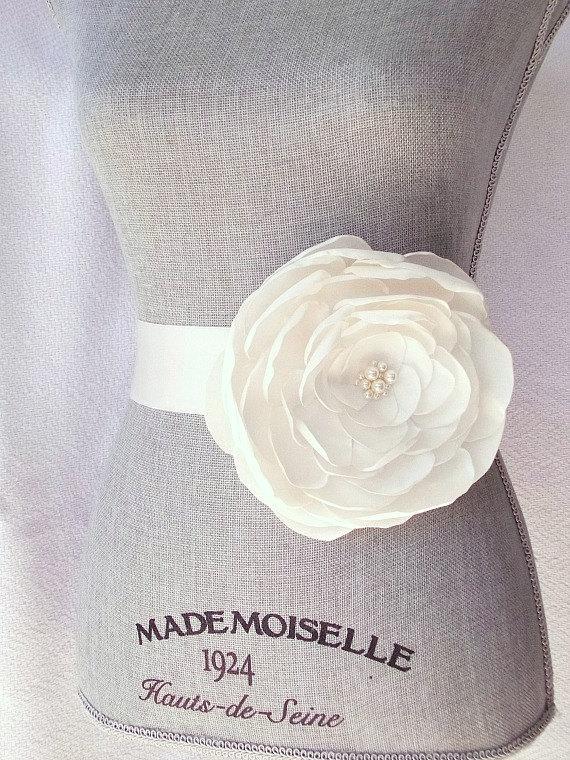 Wedding - Ivory Satin Flower Bridal Sash, Ivory Bridal Belt, Ivory Wedding Belt