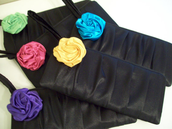 Mariage - 1 Pleated wristlet w/Rose  (Monogram available)- Bridesmaid gifts, bridesmaid clutches, bridal purses, wedding party bags