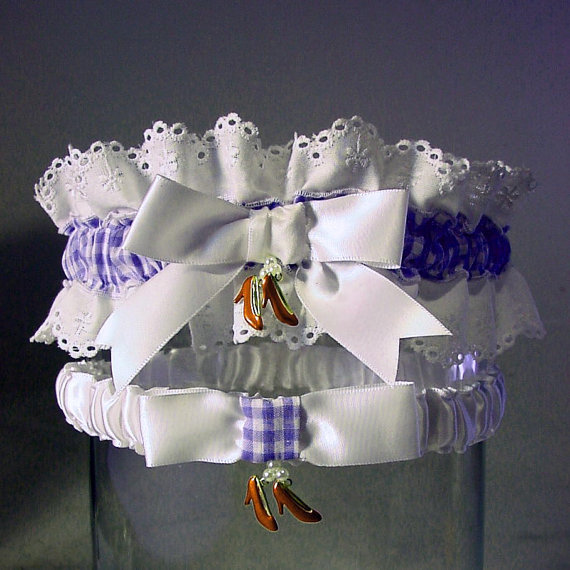 Свадьба - wedding garter set Ruby Slipper  Wizard of Oz wedding  Combo 2 Keep  and  Toss  a Peterene Design