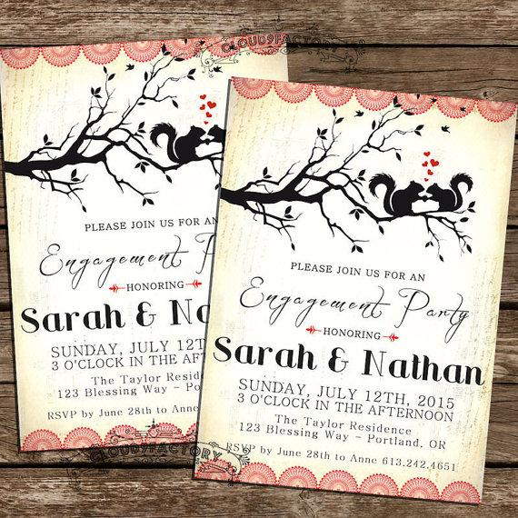 Hochzeit - Woodland Engagement Party Invitations - Squirrels in LOVE -  printable diy Red Hearts Black Vintage Rustic -  Digital File No.385