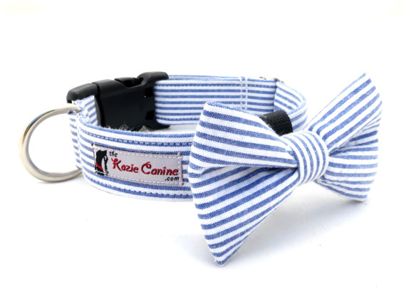Свадьба - Seersucker Dog Collar (Navy Blue , White Striped Dog Collar Only - Matching Bow Tie Available Separately for Wedding & Special Occasion)