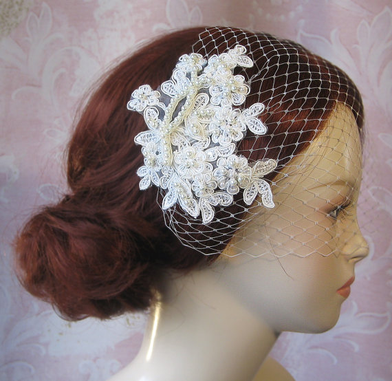 Mariage - Ivory Birdcage Veil and Lace Bridal Fascinator, White Vintage Style Bandeau Birdcage Wedding Veil and Lace Hair Clip - GUINEVERE
