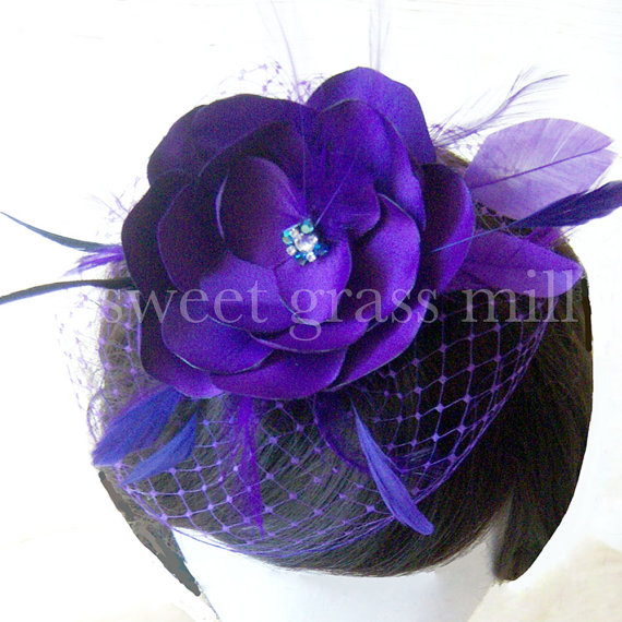 "Mariage - Regal Purple Satin Flower Feather Fascinator Hat  ""Lady Fleur in Violet"""