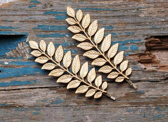 Hochzeit - 2 Gold LEAF Branch Hair Accessories Bobby Pin Set  Grecian Leaf Woodland Wedding Fairy Faerie  Bridal Greek Goddess