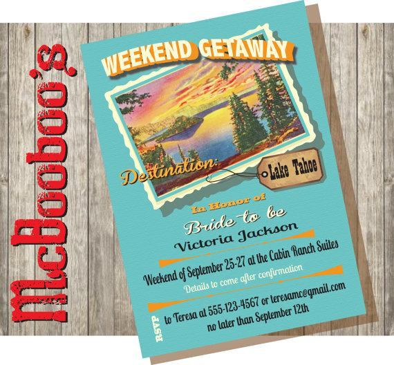 زفاف - Bachelorette Weekend Getaway Party Invitations to a lake or mountain destination.