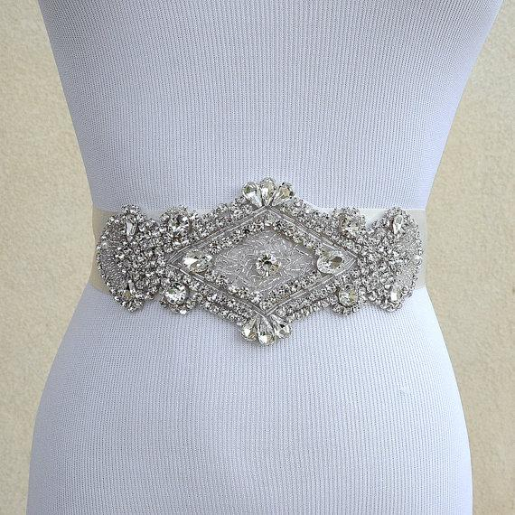 Свадьба - Bridal Sash Belt Wedding Dress Sash Belt Rhinestone Wedding Sash Belt Rhinestone Sash Belt Ivory Ribbon SA025LX