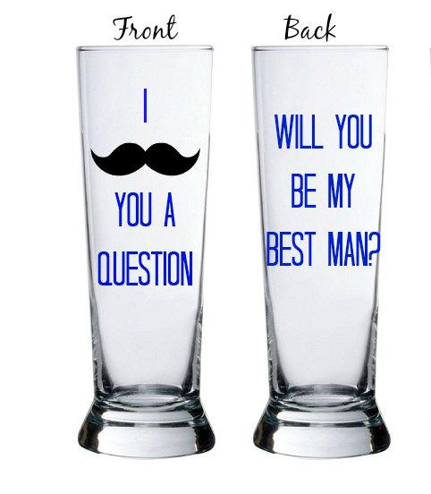Свадьба - Ask Groomsman Mustache Mug, I MUSTACHE You A Question; Ask Groomsmen Mustache, Will you be my groomsman?