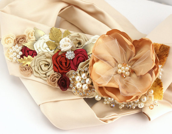 Bridal Sash Wedding Sash In Gold, Ivory, Tan, Claret, Deep Red ...