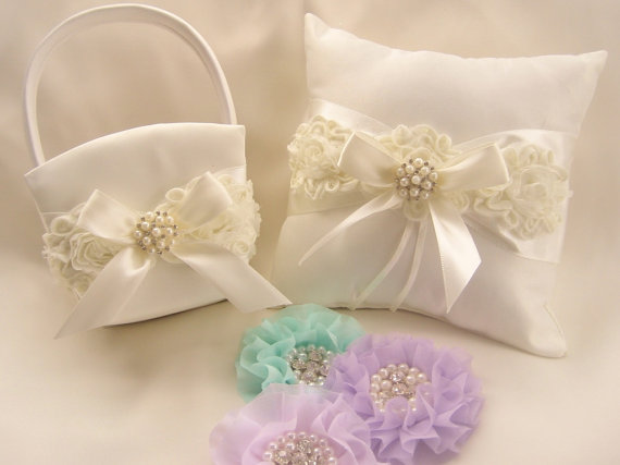 Wedding - Ivory Wedding Ring Pillow and Flower Girl Basket Set Shabby Chic Vintage Ivory and Cream Custom Colors too