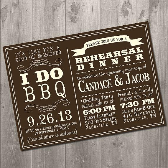 Wedding - I DO BBQ - Wedding Rehearsal Dinner Invitation - DIY Printable Invitation