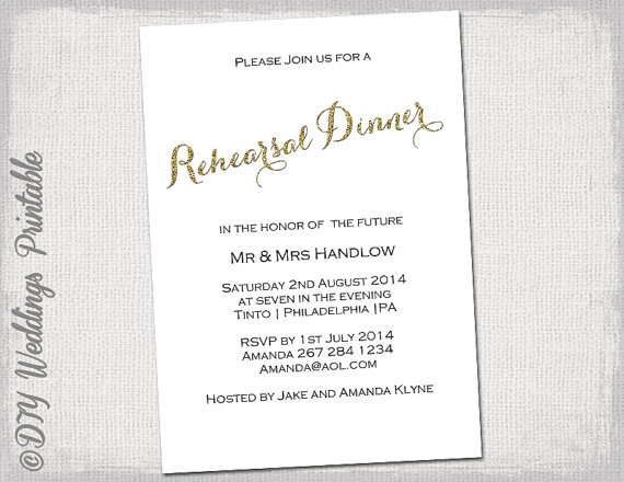 "Wedding - Rehearsal Dinner invitation template ""Gold glitter"" DIY Printable invitation templates - YOU EDIT Word download"