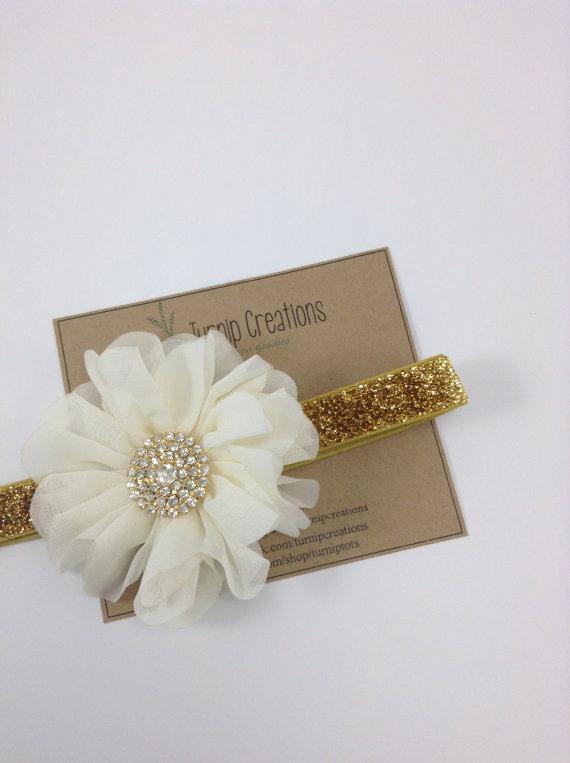 Свадьба - Ivory & Gold Headband Ballerina Flower Headband Glitter Wedding Flower Girl Headband Cream Headband Rhinestone Baby Christening Headband