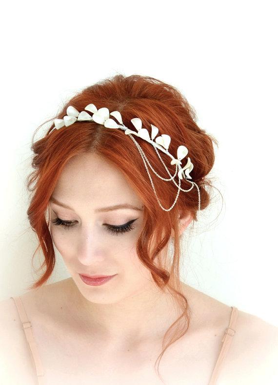Hochzeit - Pearl crown, ivory headpiece, bridal head piece, wedding headband, headdress, hair accessory