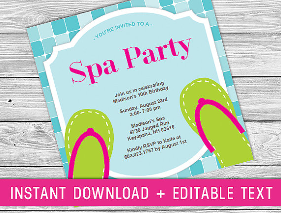 Printable Invitation - Spa Party (girls Spa Birthday