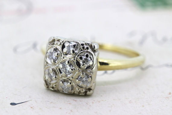 Vintage Engagement Ring Cluster Ring Diamond Ring Square Cluster