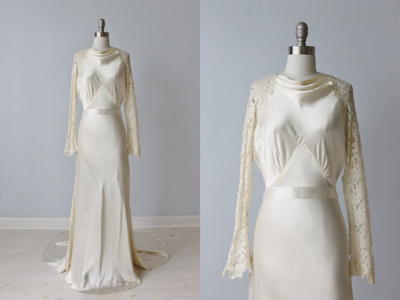Hochzeit - 1930s Wedding Dress / Lace Wedding Dress / Open Lace Back / Bias Cut Wedding Dress / Chapel Train / Timeless Elegance