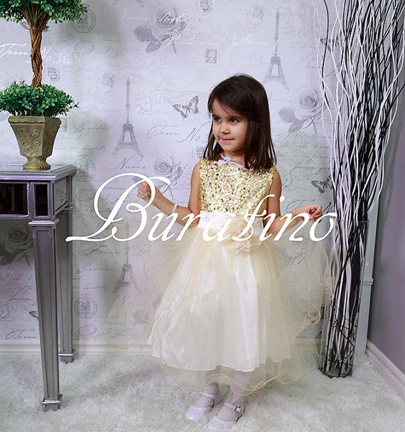 Свадьба - Flower Girl dress, Gold Sequin Flower Girl dress, Special Occasion , girls dress, Wedding Dress (ets0155gld)