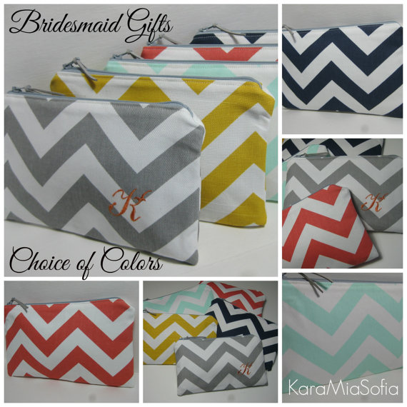 Hochzeit - Personalized Bridesmaid Gift / with or without Monogram / Chevron Clutch/Make Up Bag, Wedding, Bridal Clutches, Choose Your Colors
