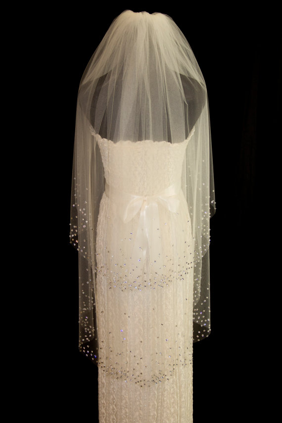 Hochzeit - Two-Tier Bridal Veil with Crystal Edge, Fingertip Length (40 inch) Wedding Veil with Blusher, White or Ivory Veil, Style 1040 'Amanda'