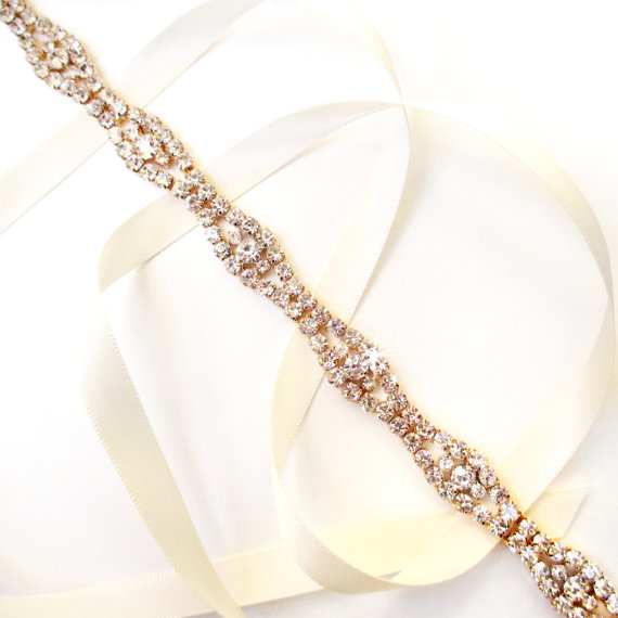 Hochzeit - Gold Rhinestone Ribbon Bridal Headband - White or Ivory Satin - Gold and Crystal - Wedding Skinny Belt