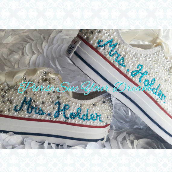 Mariage - Gorgeous Bridal Pearl and Crystal Rhinestone Custom Converse Wedding Shoes - Custom Wedding Shoes - Bride Shoes