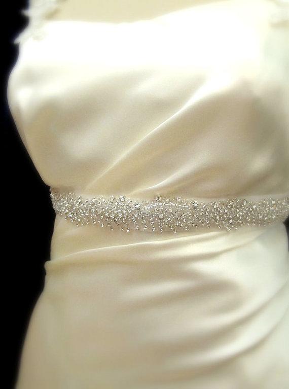 Свадьба - Thin Bridal Sash Crystal Rhinestone Beaded Belts Wedding Sash Belt Rhinestone Trim