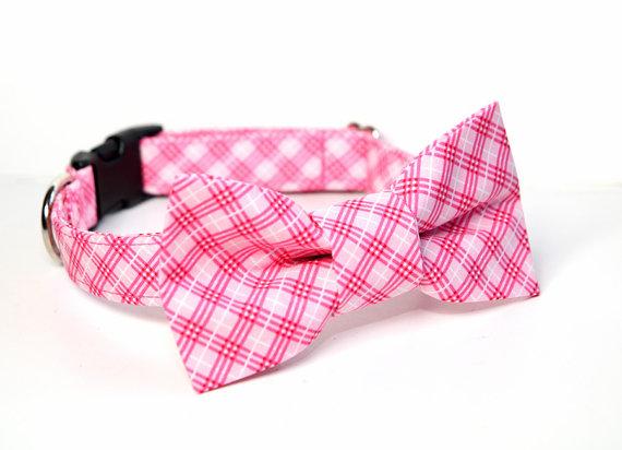 Свадьба - Wedding Dog Collar -  Pink Bow Tie Dog Collar - Plaid Tartan Bowtie - Farmgirl