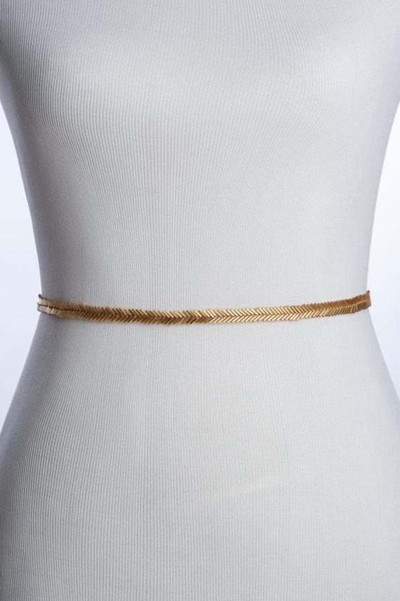 Свадьба - skinny gold bridal belt - wedding sash , gold beaded sash, bridal beaded sash