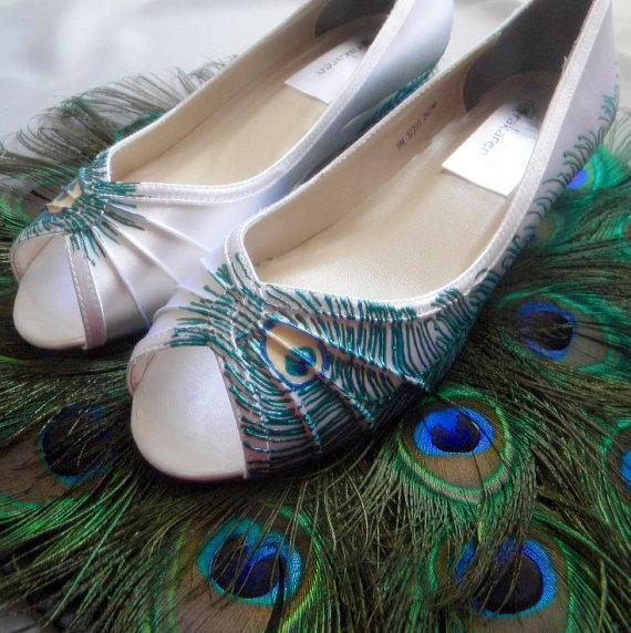 Mariage - Wedding Shoes , wedge shoes, peacock feather shoes, painted shoes, peacock blue wedge , Sale , low  heel peep toes , bridal accessory , Leah