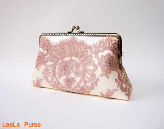 Wedding - Victorian pink rose gold wedding Lace Clutch with wristlet chains / Vintage inspired / wedding bag / bridesmaid clutch / Bridal clutch