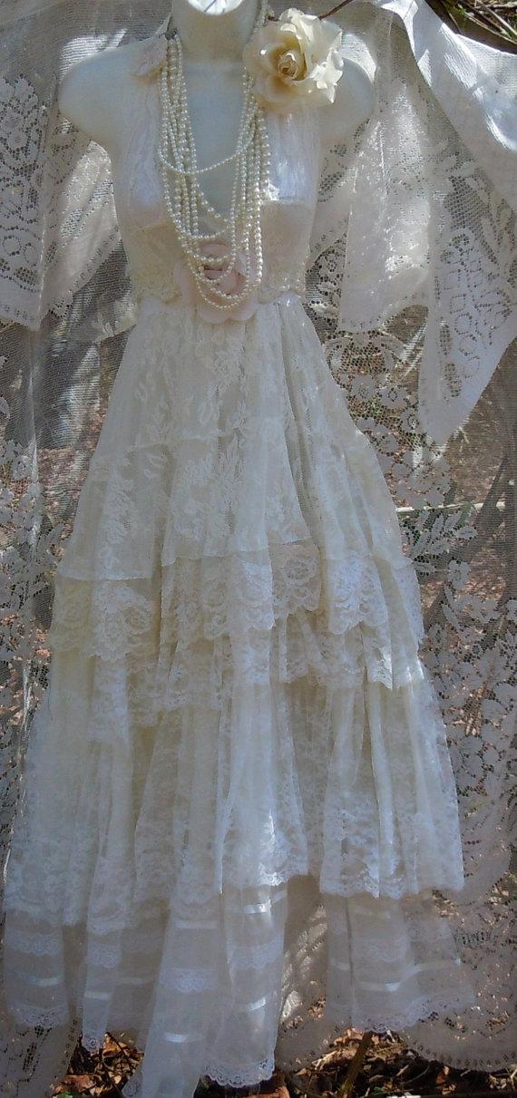 Lace white ivory wedding dress tiered vintage bride for Wedding dress on etsy
