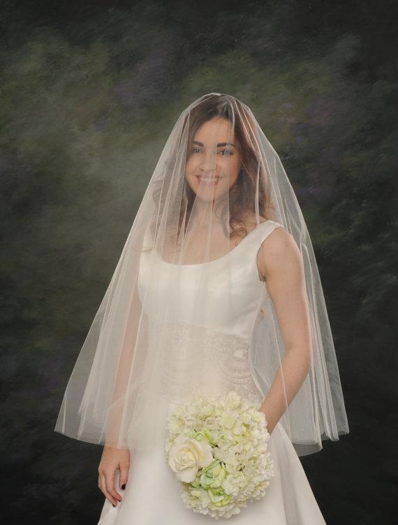 Mariage - Circular Bridal Veil Drop Fingertip Veil Double Layer Wedding Veil 32 front 36 back White Illusion Tulle Ivory Drape Veil