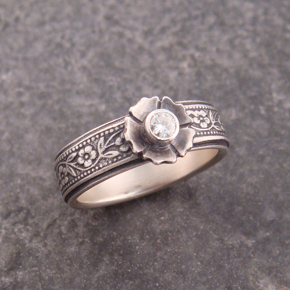 زفاف - Petunia Floral Sterling Silver Engagement Ring with Moissanite Stone