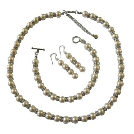 Свадьба - Ivory Pearls Bridal Jewelry w/ Sparkles Silver Rondells