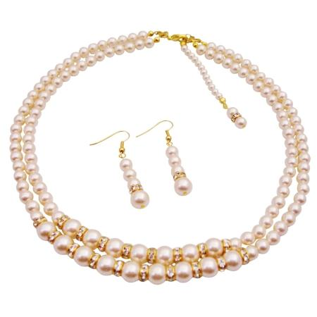 Свадьба - Back Drop Down Bridal Double Stranded Ivory Pearls Jewelry Set