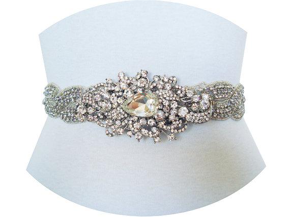 Mariage - TIFFANY II- Victorian Bridal Crystal Rhinestone Sash, Wedding Crystal Rhinestone Sash, Bridal Beaded Belt