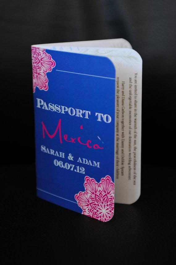 Wedding - Passport Wedding Invitation DEPOSIT: Mexico Flower Design