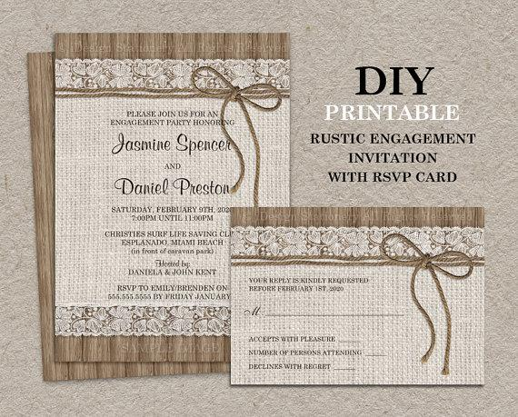rustic engagement party invitation with rsvp card, diy printable, Birthday invitations