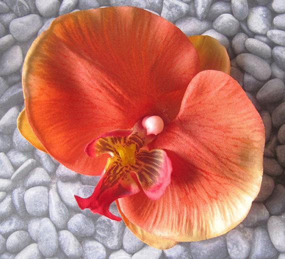 Hochzeit - Hawaiian Coral Orchid  hair Flower clip