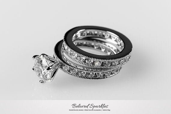 Engagement Ring Set Bridal Solitaire 4 Carat Round Cut CZ Wedding