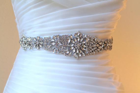 Wedding - Crystal embellished applique wedding belt.  Bridal beaded rhinestone ribbon sash. ANASTASIA