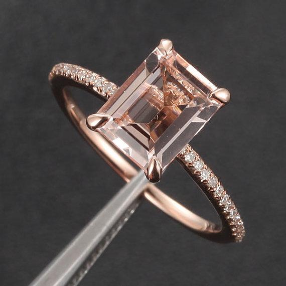 زفاف - CLAW PRONGS 14K Rose Gold Emerald Cut Morganite Ring .16ct  Pave Diamond Engagement Ring Wedding Ring