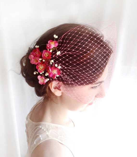 Hot Pink Birdcage Veil Fuchsia Bridal Veil Wedding Veil Retro Hairpiece Pinup Bridesmaid