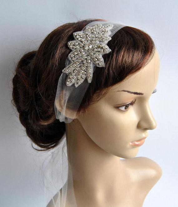 Mariage - Veil Great Gatsby Crystal Rhinestone Bridal 1920s Veil tulle Headband Headpiece, Wedding, Art Deco Bridal Rhinestone Tulle Headband,