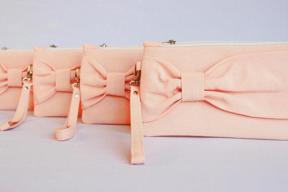 Mariage - Promotional sale   - SET OF 10 -Peach bow wristelt clutch,bridesmaid gift ,wedding gift ,make up bag,zipper