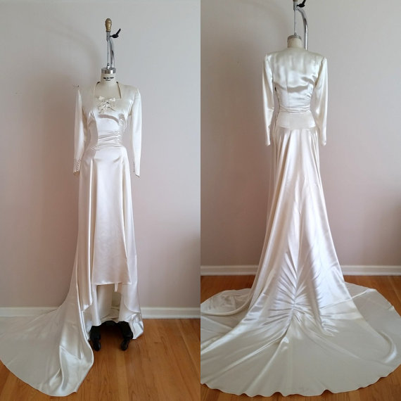 The grand illusion wedding gown vintage 1930s silk satin for Ivory silk wedding dresses