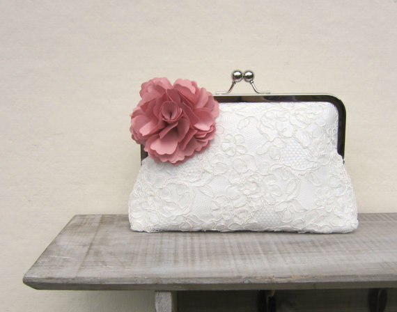 Hochzeit - Lace bridal clutch bag, ivory wedding clutch with dusky pink flower, pink bridesmaids clutch, pink floral clutch, uk clutch, bobbie massey